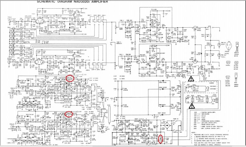 NAD 3020e amplifier - burning smell, burnt resistors and blown fuses on